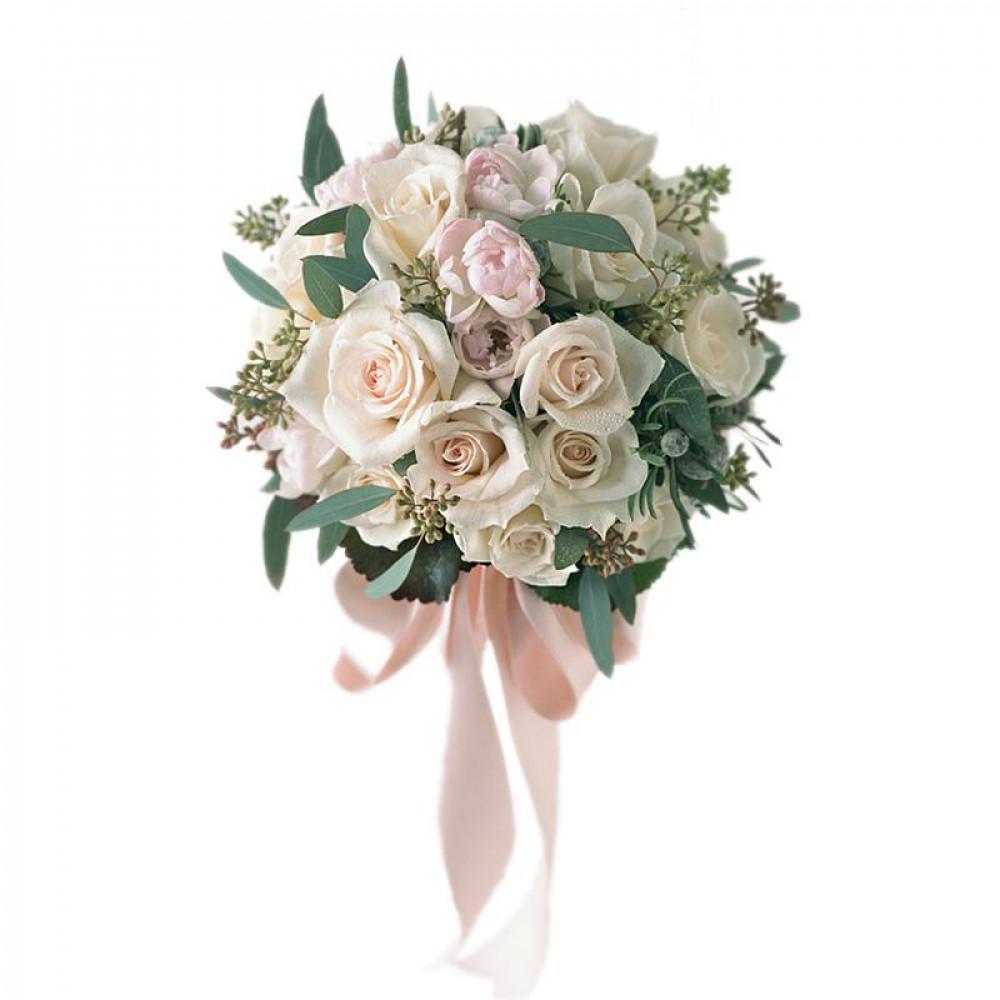 букет невесты из роз и тюльпанов